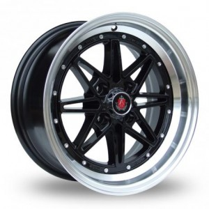 Axe 8 Spoke Black & Silver Alloy Wheels